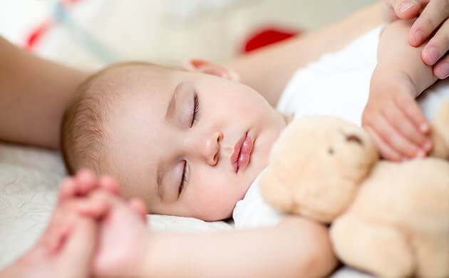 Sleeping Cute Baby Boy With Plush Toy
